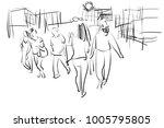 people in urban scene pencil... | Shutterstock . vector #1005795805