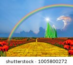 yellow brick road leading into... | Shutterstock . vector #1005800272