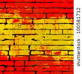 grunged spanish flag over a... | Shutterstock .eps vector #100581712