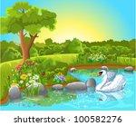 swan floating on the lake | Shutterstock .eps vector #100582276