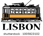 old classic yellow tram of... | Shutterstock .eps vector #1005823102