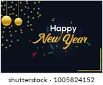 happy new year with confetti on ... | Shutterstock .eps vector #1005824152