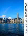 hong kong skyline and victoria... | Shutterstock . vector #1005827548