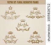 set of golden hand drawn floral ... | Shutterstock .eps vector #1005828712
