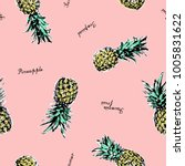 pineapple vector background.... | Shutterstock .eps vector #1005831622