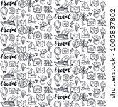 hand drawn doodle travel set.... | Shutterstock .eps vector #1005837802