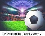 soccer ball on green field of...   Shutterstock . vector #1005838942