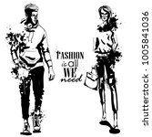 vector woman and man fashion... | Shutterstock .eps vector #1005841036