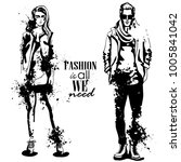 vector woman and man fashion... | Shutterstock .eps vector #1005841042