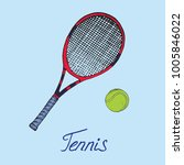 black and red tennis racket and ... | Shutterstock .eps vector #1005846022