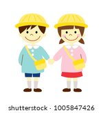 boy and girl kindergarten... | Shutterstock .eps vector #1005847426