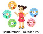 little girl showing five senses ... | Shutterstock .eps vector #1005856492