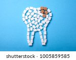sugar destroys the tooth enamel ... | Shutterstock . vector #1005859585