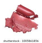 red makeup smear of broken lip... | Shutterstock . vector #1005861856