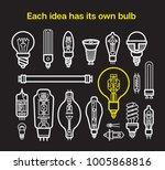 different light bulb icon...   Shutterstock . vector #1005868816