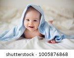 cute little baby boy  relaxing... | Shutterstock . vector #1005876868