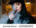 vaping girl. young hipster...   Shutterstock . vector #1005885805