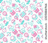 romantic seamless pattern with... | Shutterstock .eps vector #1005886966