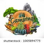 camping  3d vector emblem | Shutterstock .eps vector #1005894775