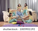 tired mother and many children. ... | Shutterstock . vector #1005901192