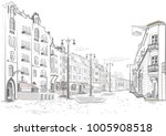 series of street views in the... | Shutterstock .eps vector #1005908518
