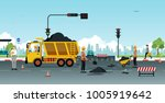 workers are repairing road... | Shutterstock .eps vector #1005919642