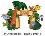beautiful zoo entrance gate... | Shutterstock .eps vector #1005919846