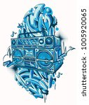 funky colorful boom box and... | Shutterstock .eps vector #1005920065