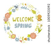 vector floral wreath with hand...   Shutterstock .eps vector #1005923392