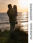 father with a baby girl at... | Shutterstock . vector #1005946942