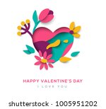 paper cut heart with blooming... | Shutterstock .eps vector #1005951202