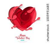 paper cut heart with splatter...