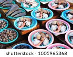 sale of fresh clams  mussels ... | Shutterstock . vector #1005965368