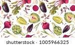 watercolor vegetable pattern ... | Shutterstock . vector #1005966325
