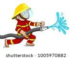 a small fireman holding a fire... | Shutterstock .eps vector #1005970882