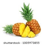 pineapple with slices isolated... | Shutterstock . vector #1005973855