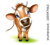 little jersey cow with a cocked ... | Shutterstock .eps vector #100597462