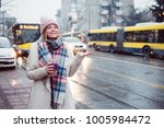 young women on city street... | Shutterstock . vector #1005984472