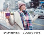 young women on city street... | Shutterstock . vector #1005984496