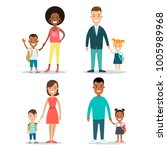 flat black family with children ... | Shutterstock .eps vector #1005989968