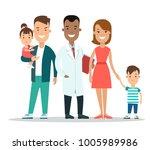 flat parents  children and... | Shutterstock .eps vector #1005989986