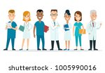 flat male and female doctors... | Shutterstock .eps vector #1005990016