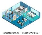 flat isometric office interior... | Shutterstock .eps vector #1005990112