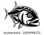 fishing emblem of  permit... | Shutterstock .eps vector #1005998272