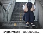 woman with emotion  sadness ... | Shutterstock . vector #1006002862