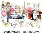 set of paris illustrations with ... | Shutterstock .eps vector #1006022896
