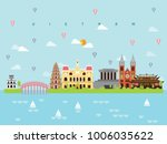 vietnam famous landmarks... | Shutterstock .eps vector #1006035622