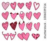 hearts color doodle | Shutterstock .eps vector #1006039216