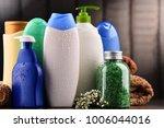plastic bottles of body care... | Shutterstock . vector #1006044016