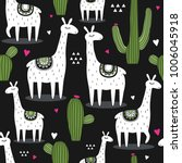 lamas  cactuses  hearts  hand... | Shutterstock .eps vector #1006045918